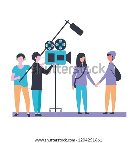 people microphone and camera production movie film
