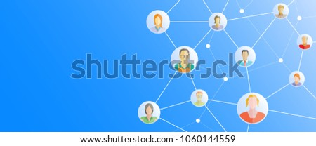 people network in blue background