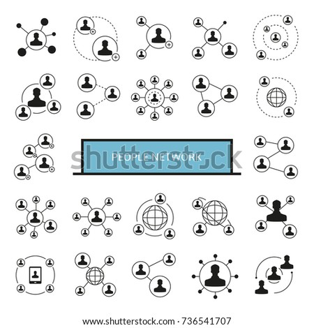 people network, people connection icons