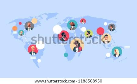 people network world map chat bubbles global communication teamwork connection concept avatar mix race man woman faces flat cartoon character portrait horizontal vector illustration