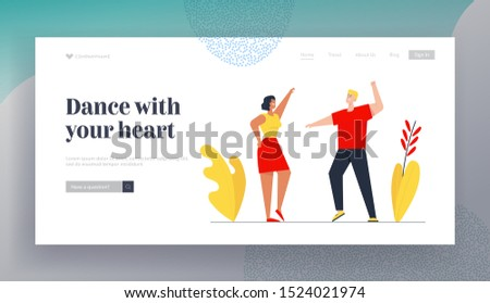 People Nightlife Clubbing Website Landing Page. Couple Visiting Night Club Dancing and Jumping under Lighting. Friends Having Fun Leisure Web Page Banner. Cartoon Flat Vector Illustration