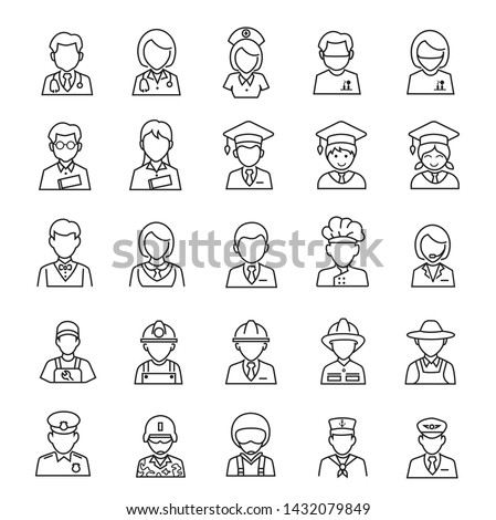 People occupation thin line icons