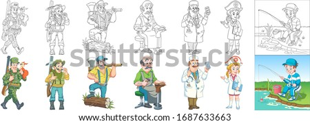 People occupations. Cartoon clipart set for kids activity coloring book, t shirt print, icon, logo, label, patch or sticker. Vector illustration. Сток-фото ©