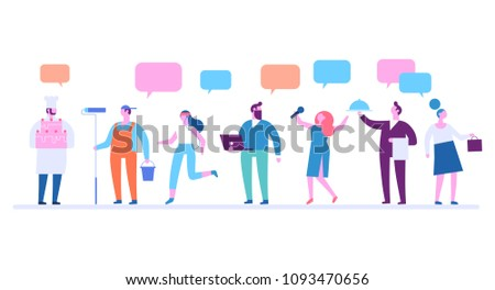 People occupations.Flat vector illustration isolated on white.