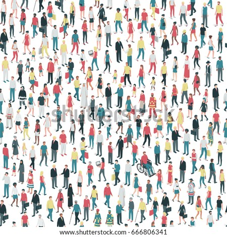 People of all ages and mixed ethnicity groups standing together, community and diversity concept, seamless pattern