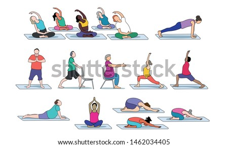 People of all ages, genders, sizes, and ethnicities practicing yoga
