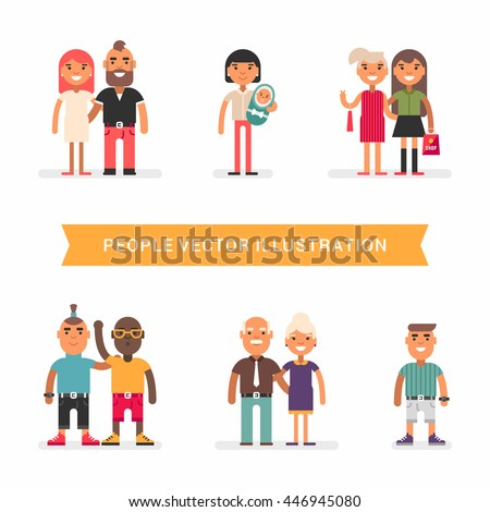 People of different age and status.. Couples, friends, single. a set of colored flat vector illustration isolated on white background