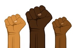 People of different nationalities and races raise up fists. Black lives matter, protest, stop racism. Fight for your rights. Raised fists against Police Brutality. Vector