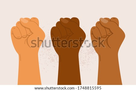 People of different nationalities and races raise up fists. Protest, stop racism, equality concept. Fight for your rights. Black lives matter. Human hands with clenched fists. Flat vector illustration Photo stock ©