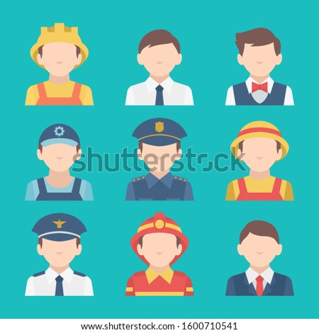 People of different occupations. Professions icons set. Flat design. Vector illustration