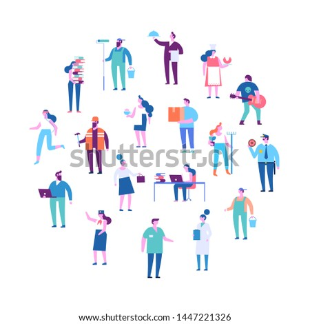 People of different occupations. Professions. Сourier, painter, teacher, fireman, businessman, teacher, chef, presenter, programmer, sportsman, hairdresser etc . Flat vector characters