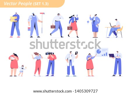 People of different occupations. Proffessions. Сourier, painter, teacher, businessman, teacher, operator, presenter, programmer, doctor. Flat vector characters