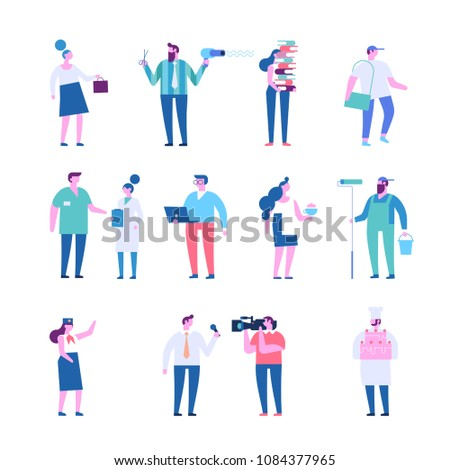 People of different occupations. Waitress, courier, worker, painter, chef, surgeon, hairdresser, business lady, librarian, programmer, stewardess, correspondent, journalist.Flat vector characters.