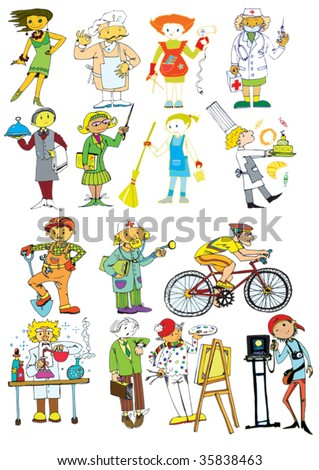 People of different professions hand drawn stock vector