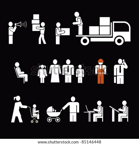 People of different professions. People at work - set of isolated vector icons. Pictograms, design elements. White simple pictograms on black background.