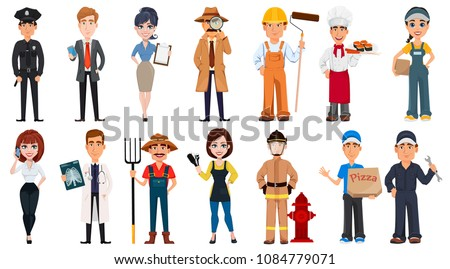People of different professions. Set of cartoon characters with various occupations. Creative vector illustration