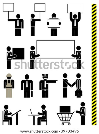 People of different professions - set of stylized vector icons. Units. Isolated, icons, design elements. Yellow & black police tape - seamless.