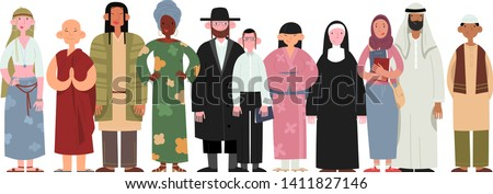 People of different religions and cultures as well as different skin colors standing together on white background. Happy people wearing various national and religious clothing.