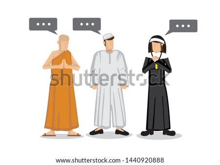People of different religions. Islam Muslim, Buddhism monk and a christianity nun. Friendship and peace conversation between religion characters. Flat isolated vector illustration.