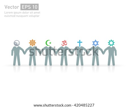 People of different religions. Islam Muslim. Judaism Jew. Buddhism Buddhist. Christianity. Hindu. Taoist. Religion vector symbols and characters. Friendship and peace for different creeds - Shutterstock ID 420485227