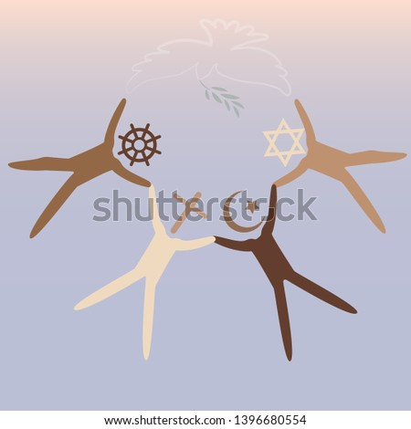 People of different religions. Islam Muslim. Judaism Jew. Buddhism Buddhist. Christianity. Religion vector symbols and characters. Friendship and peace for different creeds