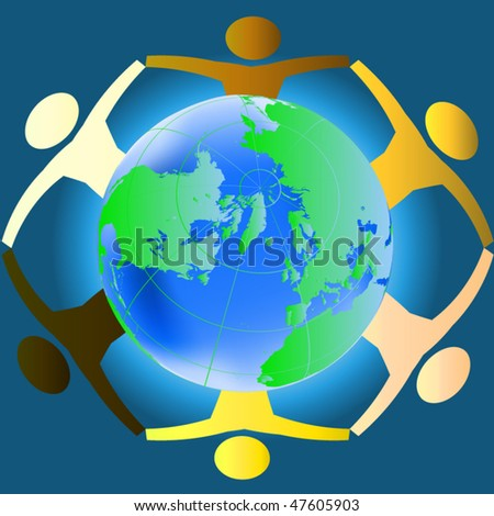 People of various races holding hands across the globe - concept for racial harmony, world peace etc