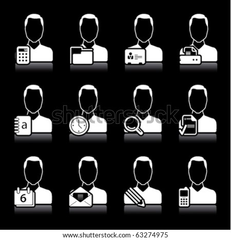 people office icons on black - stock vector