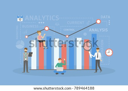 People on analytics. Chart and graph with data.