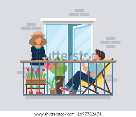 People on balcony, coronavirus concept. Stay at home during epidemic. Cute vector illustration in flat style