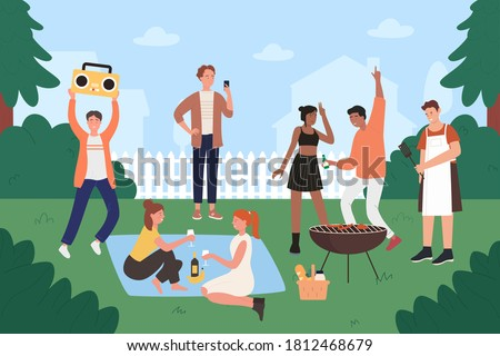 People on bbq party vector illustration. Cartoon flat young hipster friends have fun at backyard bbq grilling picnic, happy teen group characters cooking on grill, eating grilled food background