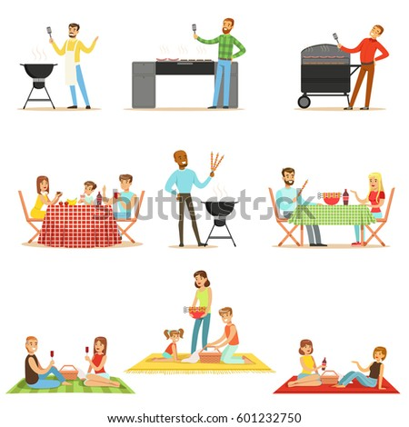 People On BBQ Picnic Outdoors Eating And Cooking Grilled Meat On Electric Barbecue Grill Collection Of Scenes