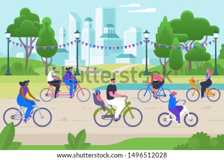 People on bicycles flat vector illustration. Smiling men and women cartoon characters. Active recreation, healthy lifestyle, outdoor activity. Eco friendly transportation, happy cyclists in park