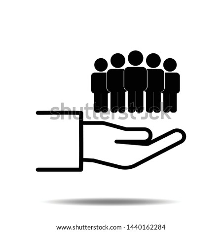 People on hand icon vector population or group of businessman human flat sign symbols logo illustration design black color.