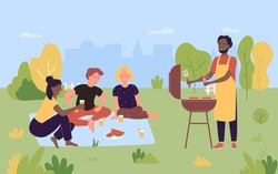 People on outdoor picnic party vector illustration. Cartoon happy young friend group of characters grilling meat, cooking grilled barbecue sausages, bbq food on grill in summer nature background