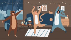 People on pajamas party in home interior vector illustration. Cartoon young woman characters wearing funny animal onesie costume, celebrating Halloween pajama party, happy celebration scene background
