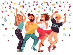 People on party. Cartoon female, excitement dance laughing characters. Isolated dancing women, group friends celebration