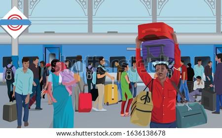 People on Railway platform and Indian Railway porter Сток-фото ©