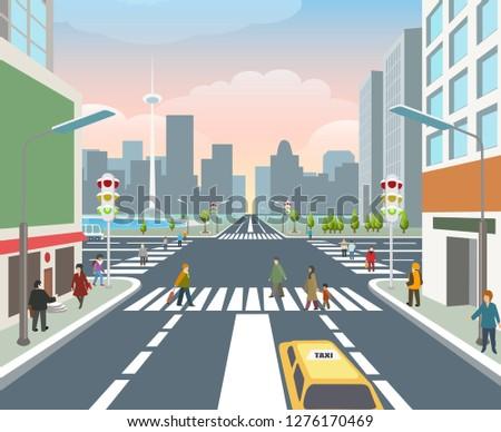 People on road. Cars, human city walking travel, asphalt crossing road, pedestrian traffic street, vector illustration