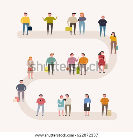 people on street vector illustration flat design