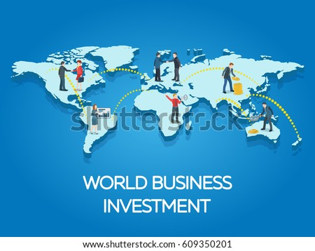 People on the world map. Business start-up work moments flat 3d banner. New ideas, search for investor, increased profits. Business situation. Vector illustration