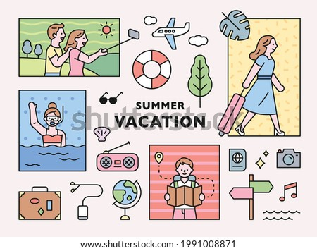 People on vacation and vacation icon set composition in square frame. flat design style minimal vector illustration.
