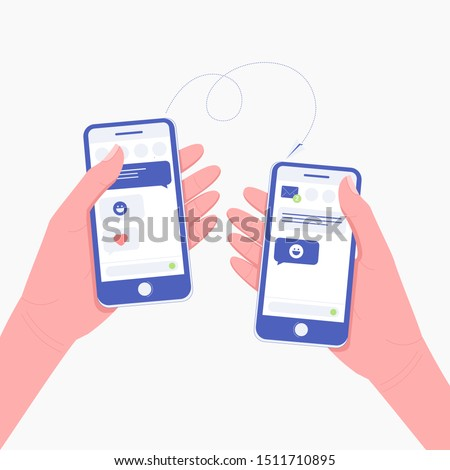 People online communication concept. Two people hands holding smartphones. Chatting or sending messages. Hand typing new message using phone chat app. Mobile communication. Trendy flat style. Vector