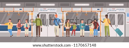 People or city dwellers in metro, subway, tube or underground train car. Men and women in public transport. Male and female characters using rapid transit. Vector illustration in flat cartoon style.