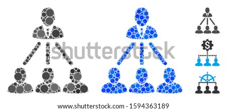 People organization structure mosaic of round dots in variable sizes and color tints, based on people organization structure icon. Vector random circles are composed into blue mosaic.