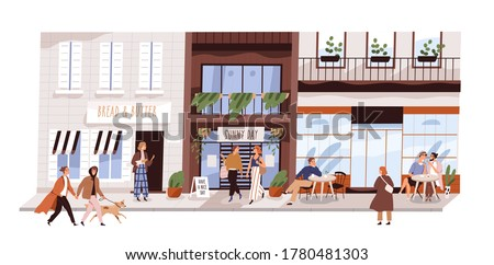 People outdoor at small urban street vector flat illustration. Happy man, woman, couple and friends sitting at cafe, walking, enjoy shopping isolated. Modern buildings, coffeshop, store showcase