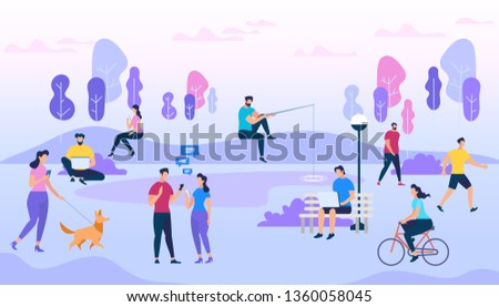 People Outdoors. Active Men and Women on City Street and Park. Summer Activity. Healthy Lifestyle. Meeting Friends, Ride Bike, Walking Pets, Fishing, Communication. Cartoon Flat Vector Illustration.