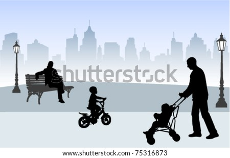 people outdoors - vector
