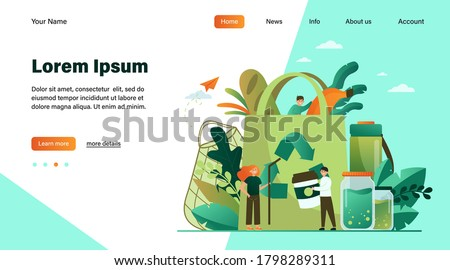 People packing organic food into eco bag, sorting plastic waste for recycling. Vector illustration for eco friendly shopping, sustainable development, environment care concept