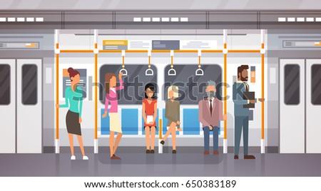 People Passangers In Subway Car Modern City Public Transport, Underground Tram Flat Vector Illustration
