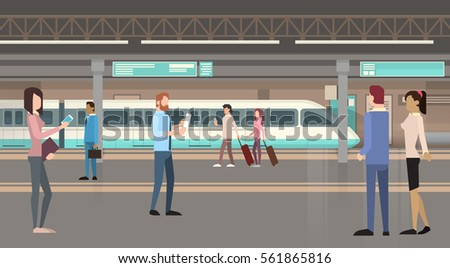 People Passengers Subway Tram Modern City Public Transport, Underground Rail Road Station Flat Vector Illustration